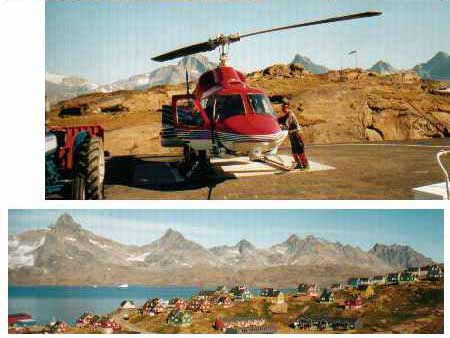 Tassilaq in Ammassalik, East Greenland, with a helicopter, one of few modes of transport