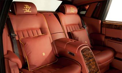 The Dragon-branded leather interior of the Rolls Royce Phantom