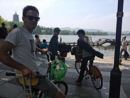 Biking around Hangzhou's West Lake on a Tandem